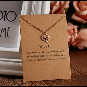 Women Wish Heart Necklace Pendant Gold New